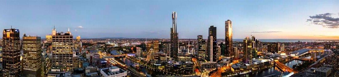 Melbourne CBD Night Panorama 360 degree view